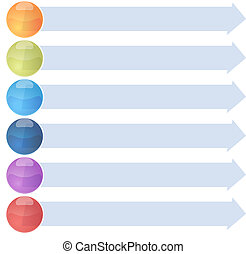 Six blank business diagram arrow list illustration - blank...