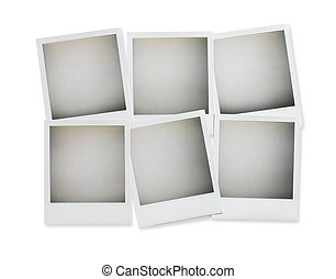 six blank pictures overhead isolated on white with clip
