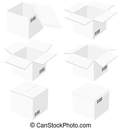 Six boxes, isolated on white background. Vector...