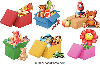 Six boxes of toys illustration