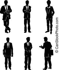 Six businessman silhouettes