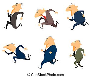 Six businessmen running