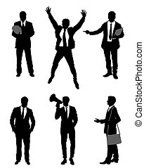 Six businessmen set - Vector illustration of a six ...