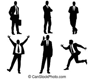 Six businessmen silhouettes - Vector illustration of a six...