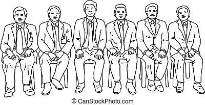 six businessmen sitting together vector illustration sketch doodle hand drawn isolated on white background. Teamwork business concept.