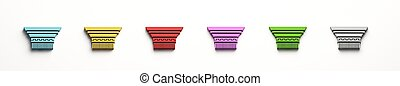 Capital Column structure in colors. Concept of Strong and valuable