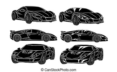 Six cars silhouettes