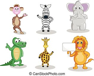 Six cartoon animals isolated on white