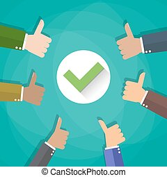 Six cartoon Businessmans hands hold thumbs up. positive checkmark in center, vector illustration flat design on green background.