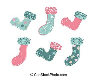 Six cartoon colored christmas stocking