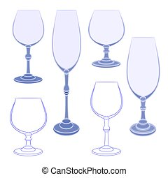 Six champaign wineglass blue crystal vector illustration