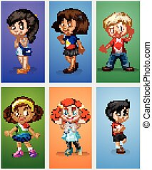 Six children on different backgrounds
