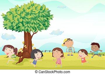 Six children running in park