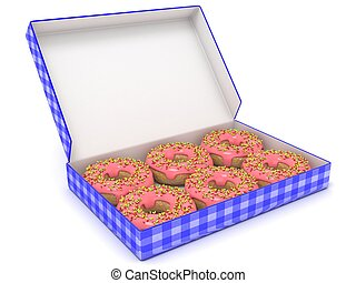 Six chocolate donuts in blue box