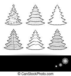 Six Christmas trees set black on white