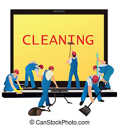 Six cleaners with big notebook