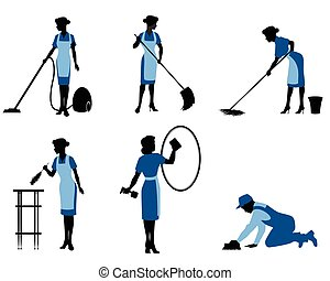 Six cleaning workers - Vector illustration of a six cleaning...