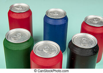 Six cold cans of soda in different colors
