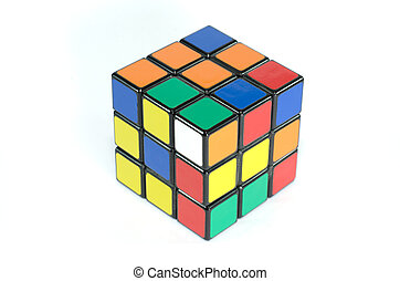 Six color cube puzzle with clipping path