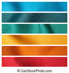 six color fabric texture sample for interior design