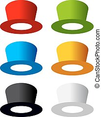 Six color hats on white background