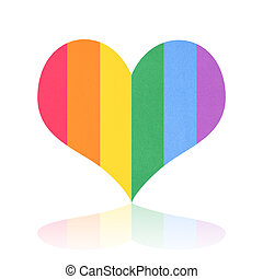 Six color of white heart paper texture isolated on white background of lgbt pride concept.