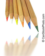 Six Color pencils with shadow isolated on a white background