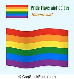 Six-color rainbow gay pride flag with correct color scheme.