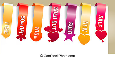 Six color vertical promotion labels with text