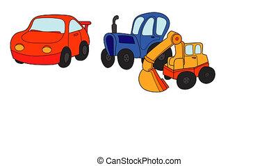 Six colored cartoon cars and transport designed like...