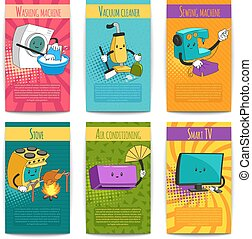 Six Colored Comic Posters With Household Appliances