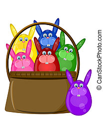Six Colored Happy Easter Bunny Eggs in Basket