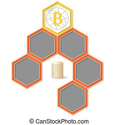Six colored hexagons for your text and bit coin symbol