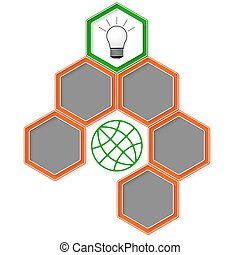 Six colored hexagons for your text and bulb icon