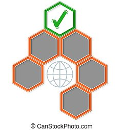 Six colored hexagons for your text and check box