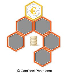 Six colored hexagons for your text and euro symbol