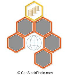 Six colored hexagons for your text and golden coin