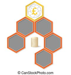 Six colored hexagons for your text and pound sterling symbol