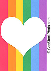 Six colored paper texture background of lgbt pride concept and white heart with copy space.