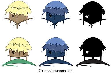 tropic huts - six colored tropic huts silhouette