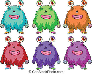 Illustration of the six colorful aliens on a white background