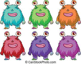 Six colorful aliens