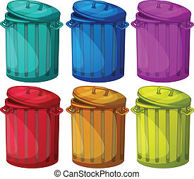 Six colorful bins - Illustration of the six colorful bins on...