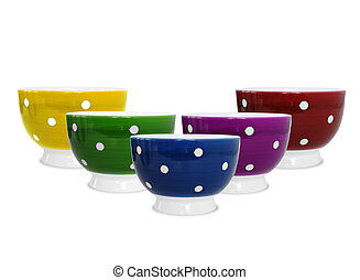 Six colorful bowls on white background