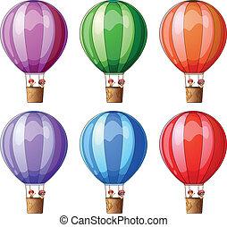 Six colorful hot air balloons