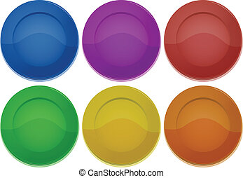 Six colorful round plates - Illustration of the six colorful...
