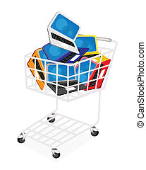 Six Colors of Laptop Computer in Shopping Cart