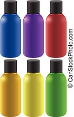Six colourful bottles on a white background