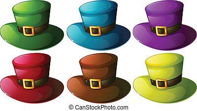 Six colourful hats