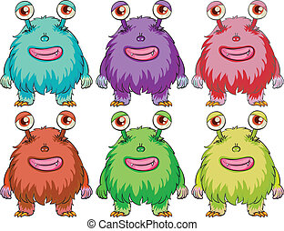 Illustration of the six colourful monsters on a white background